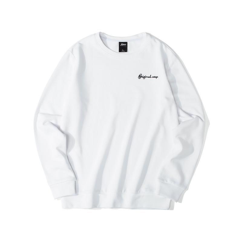 特步 男子卫衣 19新款简约纯色小字母绣花套头衫881329059368