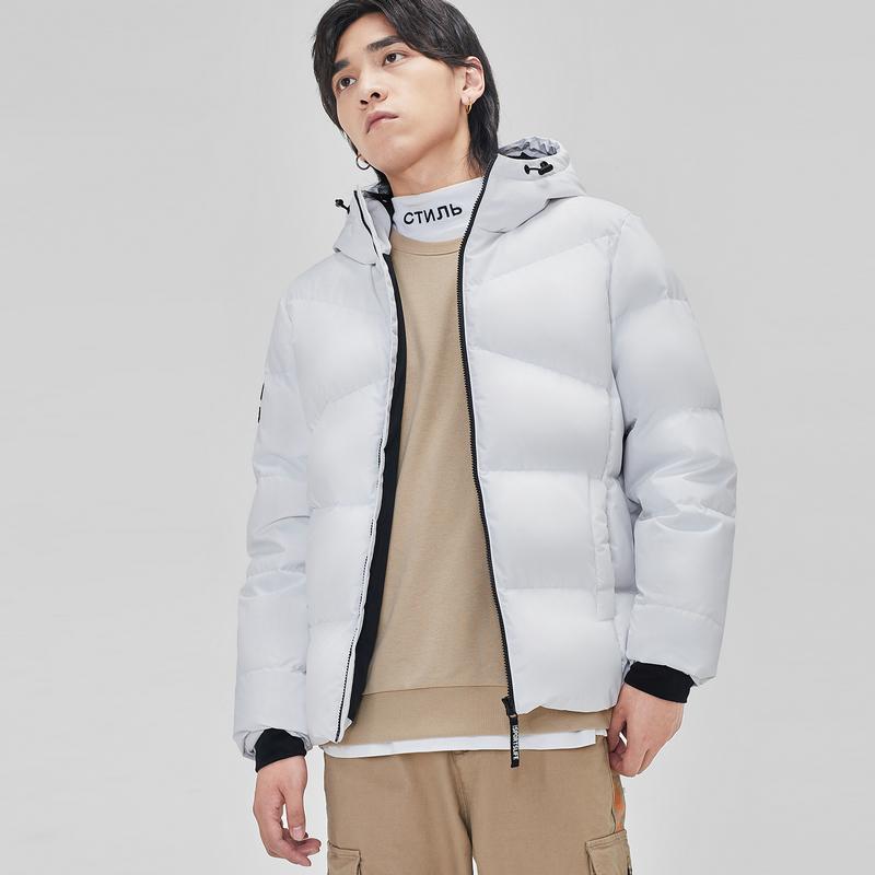 特步 男子羽绒服 连帽短款加厚保暖外套881429199154