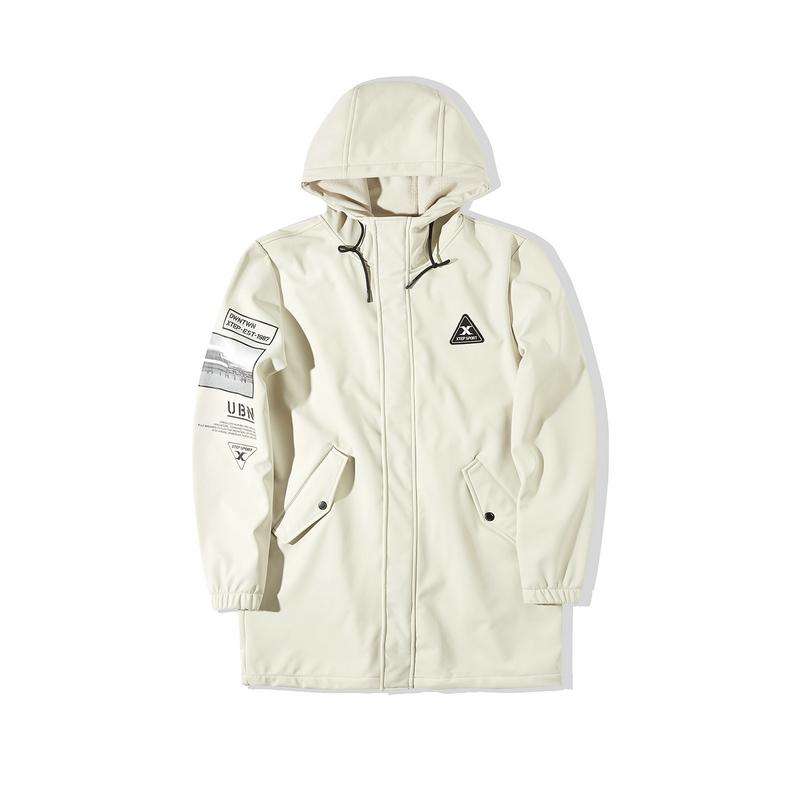 特步 专柜款 男子风衣 2019冬季新款中长款连帽外套保暖运动风衣981429160028