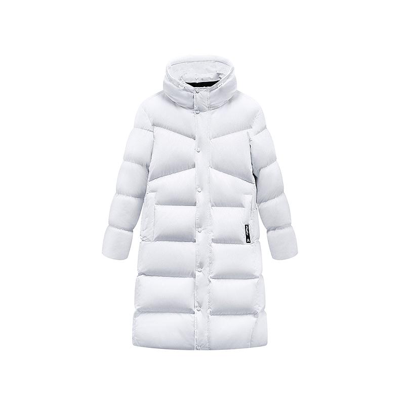特步 男子冬季都市活力时尚舒适保暖连帽长款纯色羽绒服881429199160