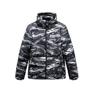 特步 男子冬季基础运动舒适保暖迷彩连帽羽绒服881429199183