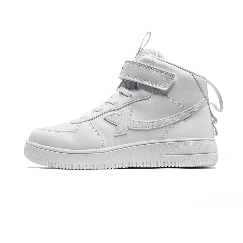 特步 男女童板鞋 19新款中大童儿童高帮小白鞋681416319525
