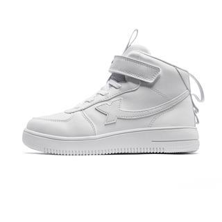 特步 男女童板鞋 中大童儿童高帮小白鞋681416319525