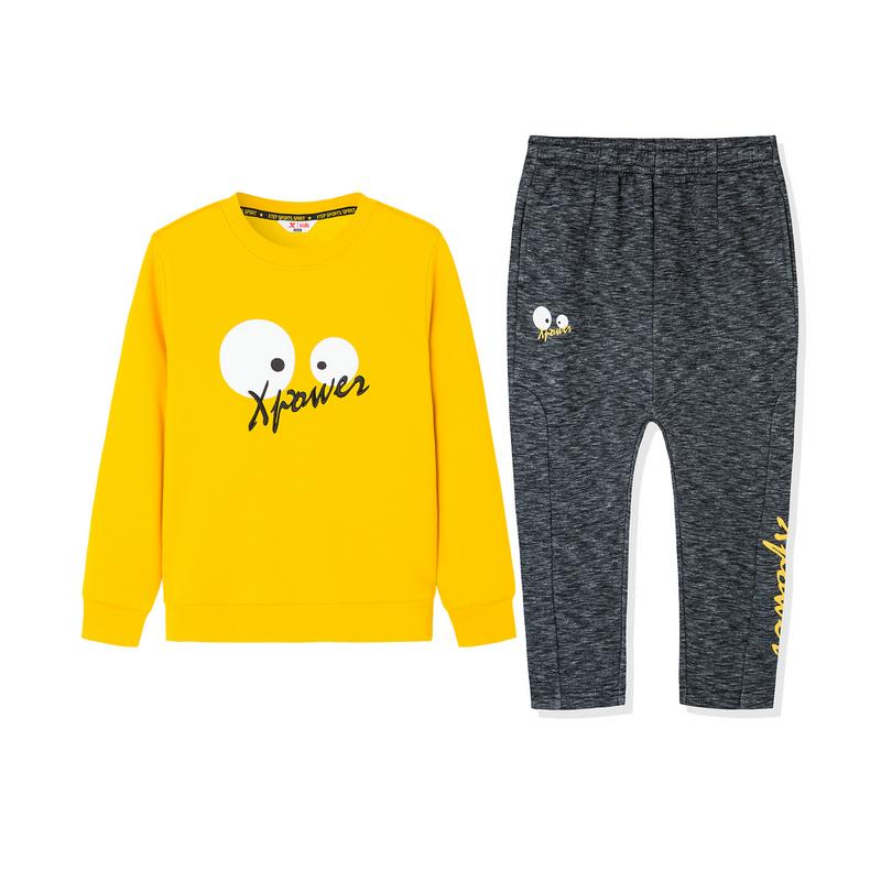特步 男女童长袖针织套装 19新款中小童儿童卫衣长裤两件套681426349251