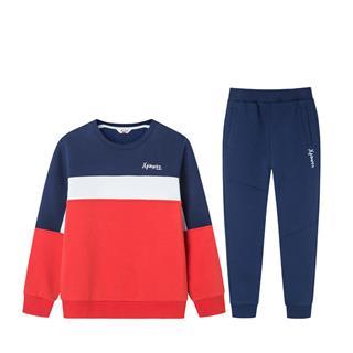 特步 儿童套装 童装长袖针织童装拼色学生长袖针织运动681426349272