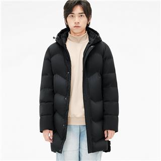 特步 男子羽绒服 长款保暖连帽外套881429199172