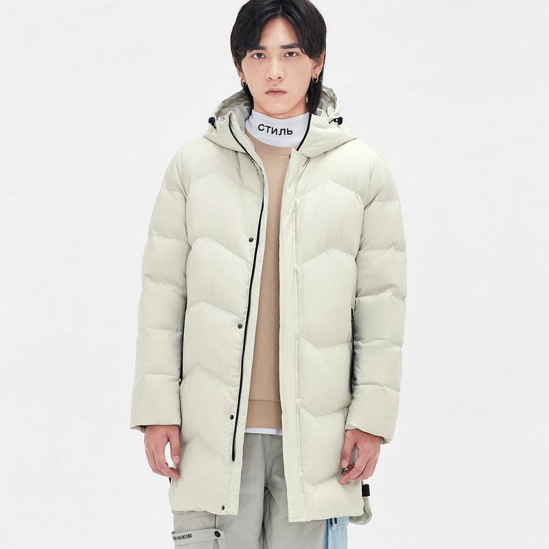 特步 男子羽绒服 19冬新款长款保暖连帽外套881429199172