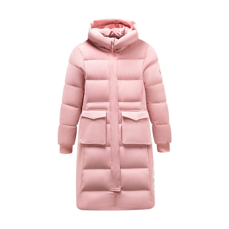 特步 专柜款 女子羽绒服 19冬新款口袋连帽运动厚长款外套981428190125