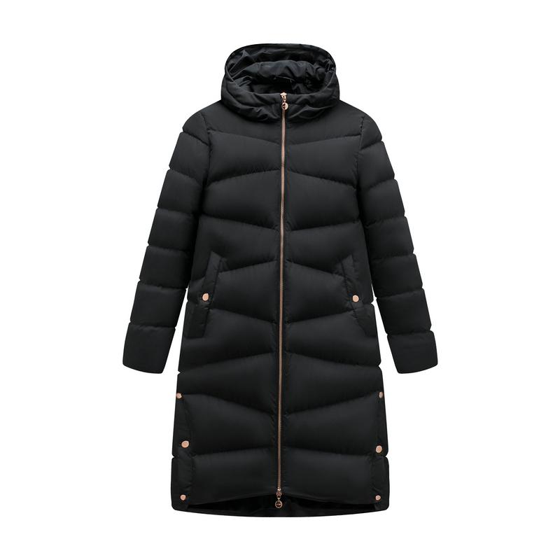 特步 专柜款 女子羽绒服 19冬新款都市活力长款厚外套981428190332