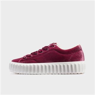 特步 女子板鞋 19冬新款时尚绒面厚底鞋881418319709