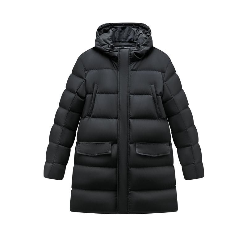 特步 男子羽绒服 19冬新款保暖中长款连帽厚外套881429199240