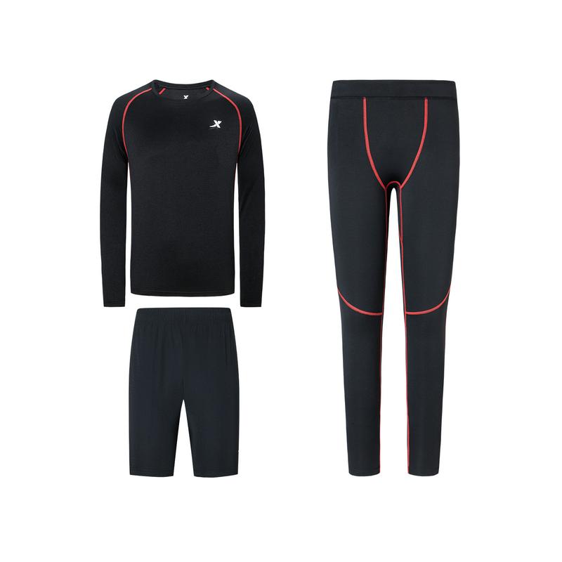 特步  男子春季综训健身套装专业紧身运动三件套880129A10193