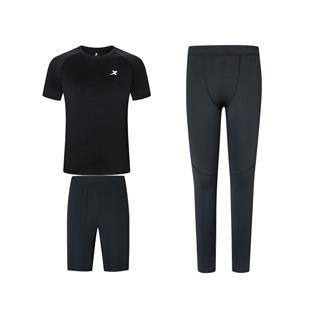 特步  男子春季新款运动健身套装三件套专业紧身裤880129A10194