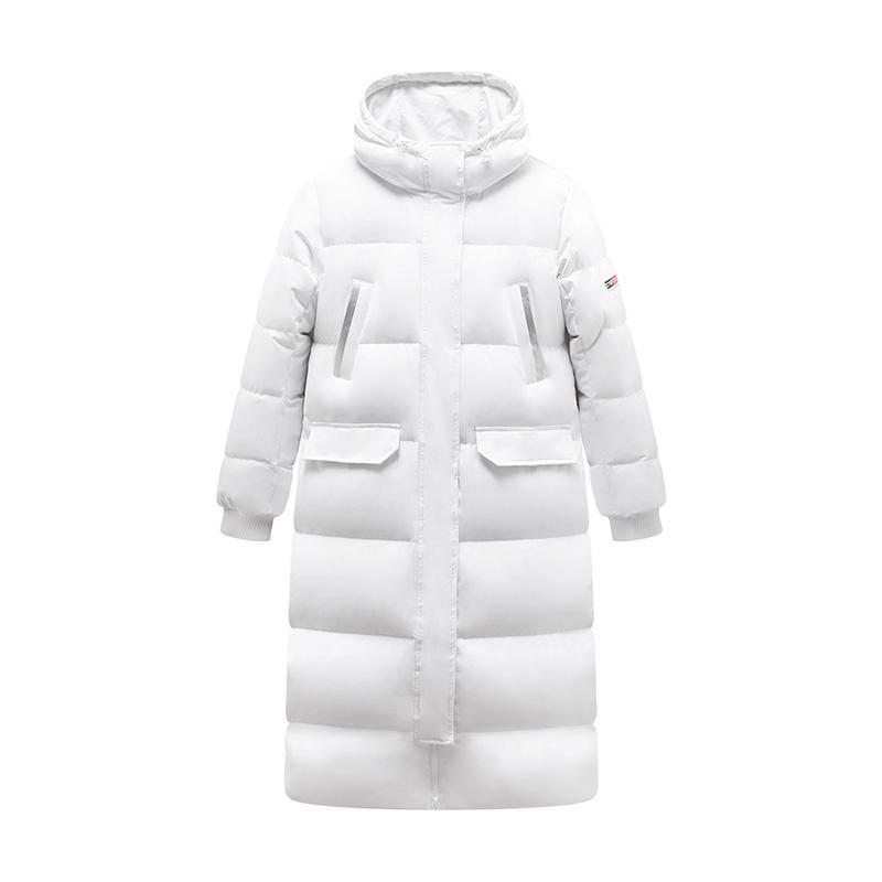特步 专柜款 女子羽绒服 2019冬季新款中长款厚灰鸭绒羽绒服981428190126