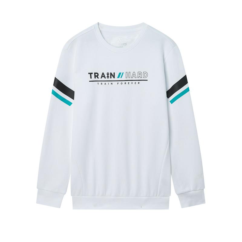 特步 专柜款 男子卫衣 2019冬季新款圆领字母运动套头上衣981429920190