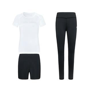 特步 女子三件套 春季新款运动健身短袖短裤三件套880128A10195