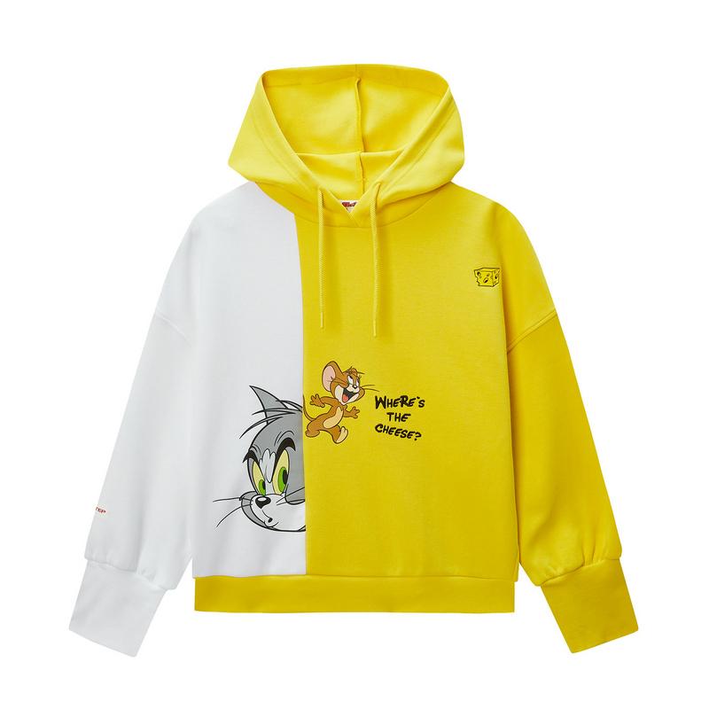 【暖春焕新】【猫和老鼠联名款】特步 专柜款 女子卫衣 20年景甜同款连帽套头衫980128930419