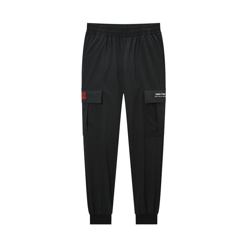 特步 专柜款 男子梭织长裤 20年春新款街头口袋工装裤980129560275