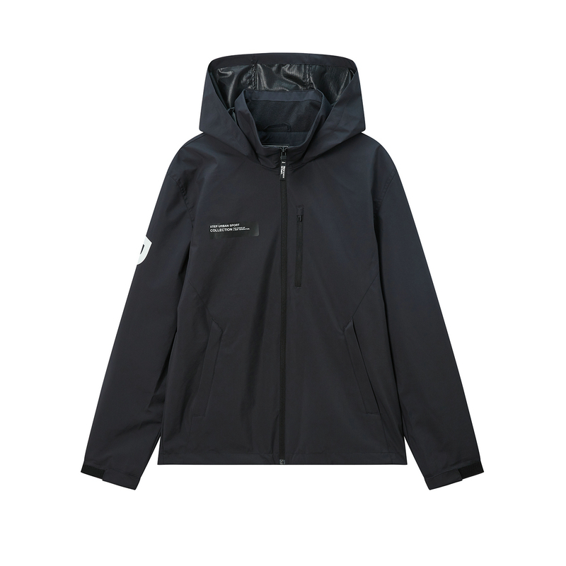 特步 专柜款 男子双层风衣 20年春新款连帽拉链都市外套980129150171