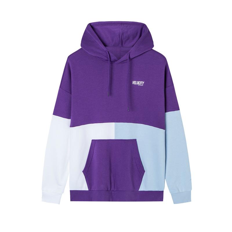 特步 男子卫衣 20年春新款时尚拼接连帽口袋套头衫880129050106