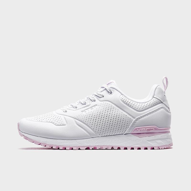 特步 专柜款 女子休闲鞋 2020春季新款皮面运动鞋轻便跑步鞋子980118320278