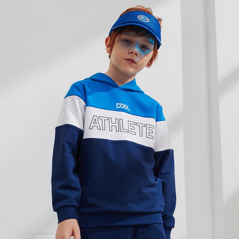 男女童卫衣 春新款中大童儿童连帽撞色拼接套头衫680126089373