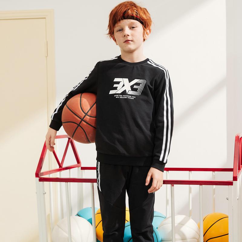 特步 男童针织套装 20年春新款中大童儿童卫衣长裤两件套680125349379