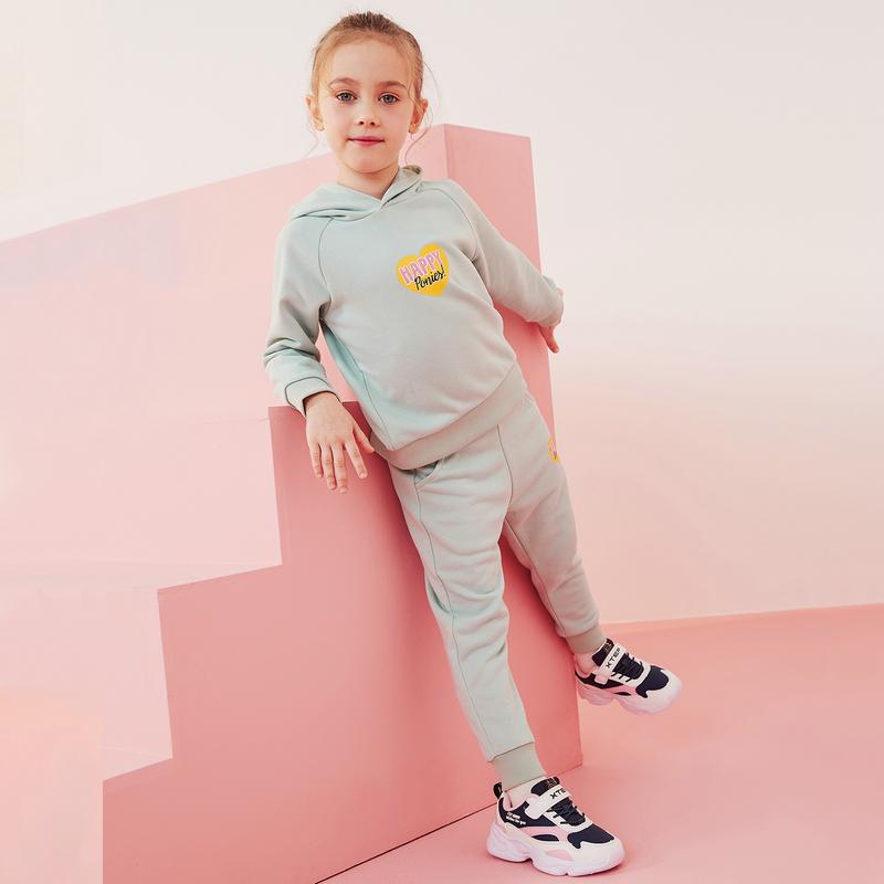 【小马宝莉】特步 女童针织套装 20年春新款小童儿童连帽卫衣长裤两件套680124349301
