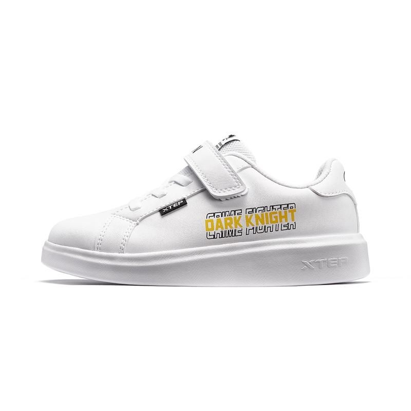 特步 男童板鞋 春新款小童儿童魔术贴小白鞋680115319609