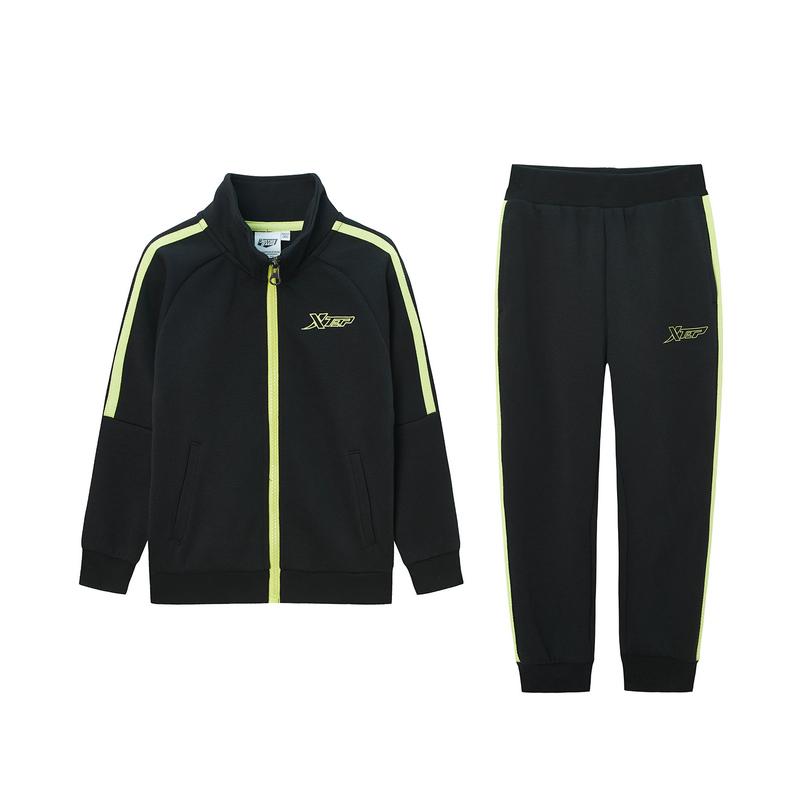 特步 儿童套装 儿童针织套装男女童外套裤子2件套2020年春季新款休闲680126349380