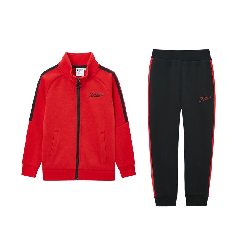 特步 儿童套装 儿童针织套装男女童外套裤子2件套20春季新款休闲680126349380