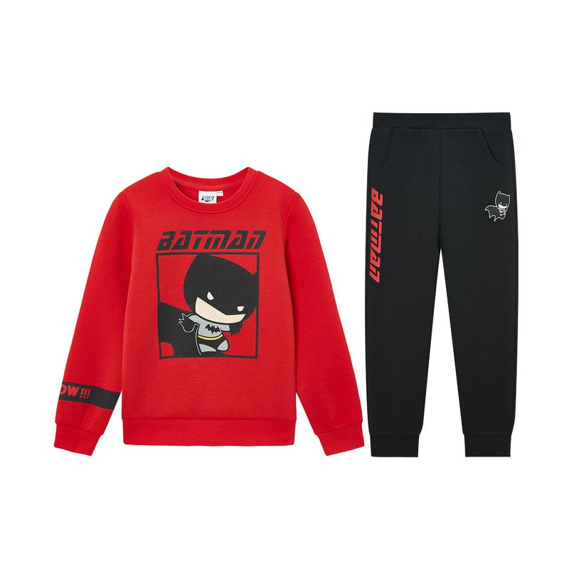【蝙蝠侠联名款】特步 男童套装 儿童套装男小童卫衣裤子2件套2020年春季新款680125349307