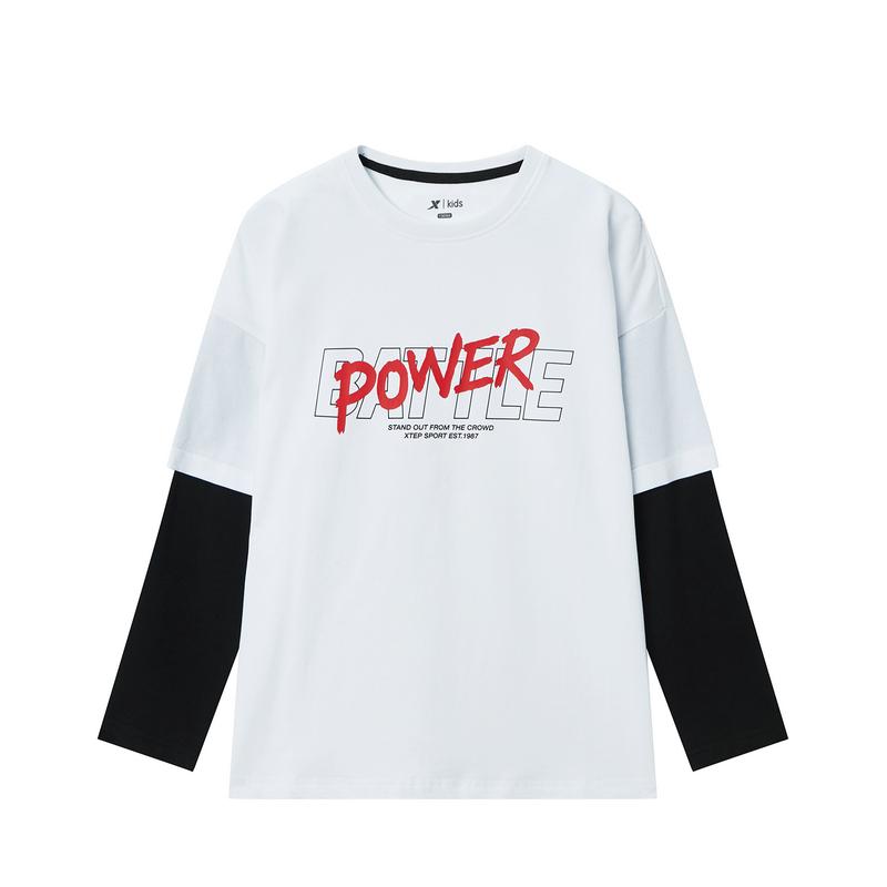 特步 男童长袖针织衫 20年春新款中大童儿童休闲拼接卫衣680125039394