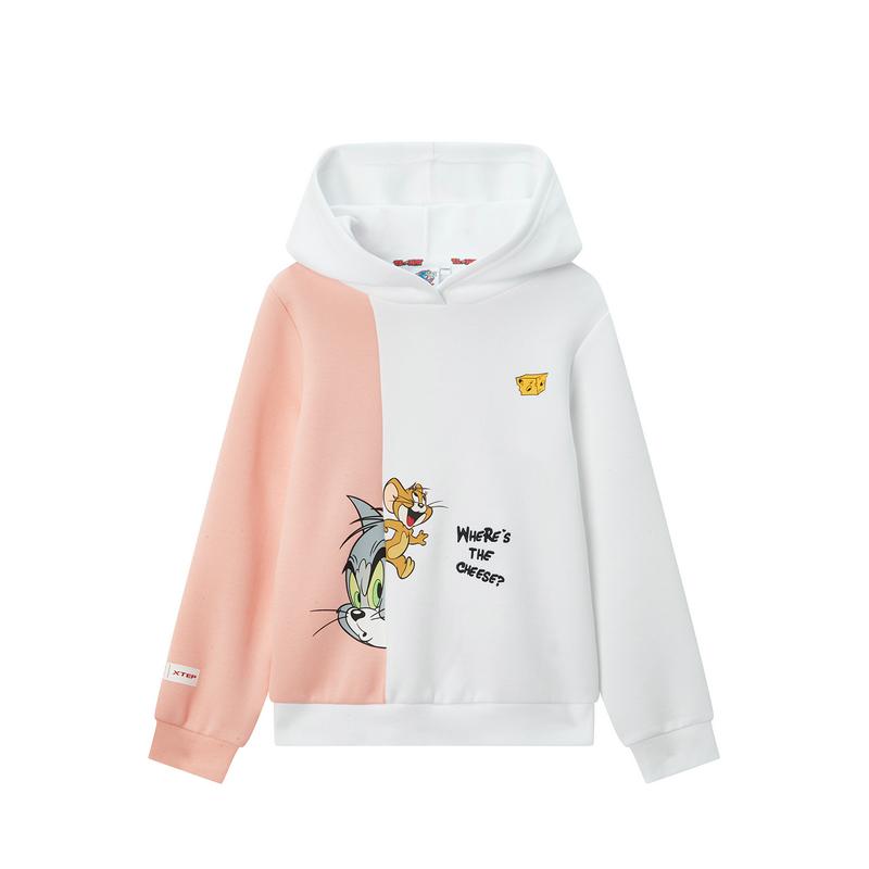 特步【猫和老鼠】女童连帽卫衣 休闲连帽运动上衣680124083230