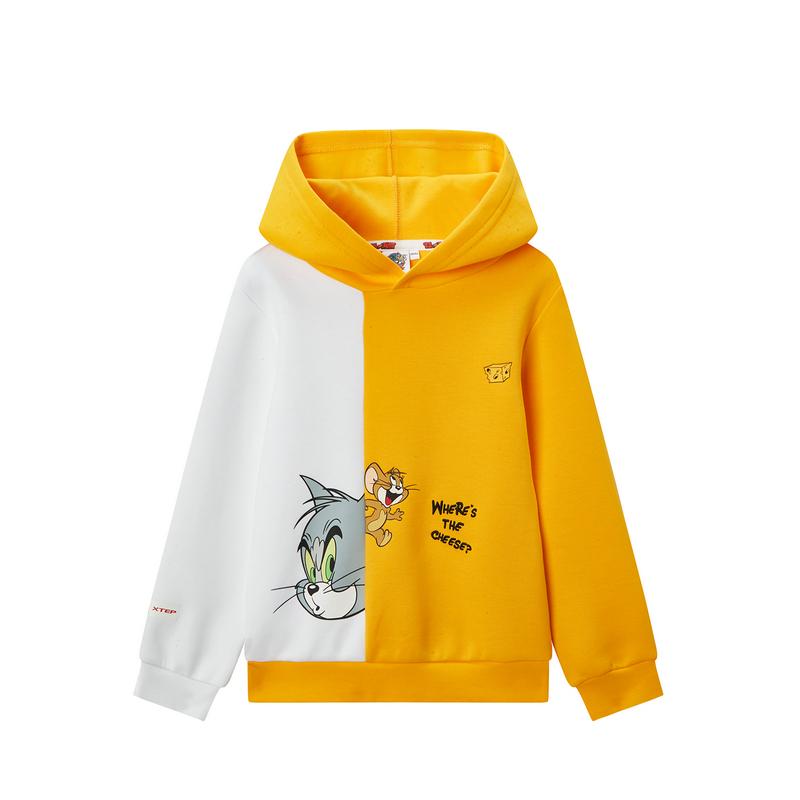 特步 【猫和老鼠】男中大童连帽卫衣时尚休闲外套680125084202