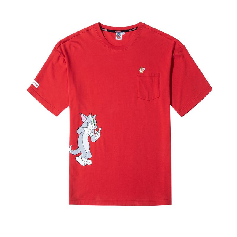 【猫和老鼠】特步 男女情侣同款 2020夏季新款猫和老鼠联名运动情侣T恤女内搭半袖880227010170