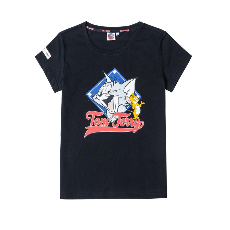 【猫和老鼠】特步 女子短袖 2020夏季新款猫和老鼠联名半袖运动上衣880228010123