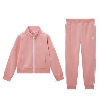 特步 女童长袖针织套装 经典运动系列活力百搭两件套680124349350