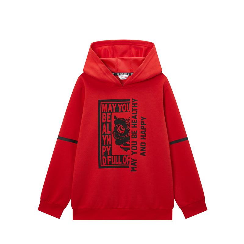 特步 专柜款 男童都市系列连帽卫衣 中大童卫衣680125084002