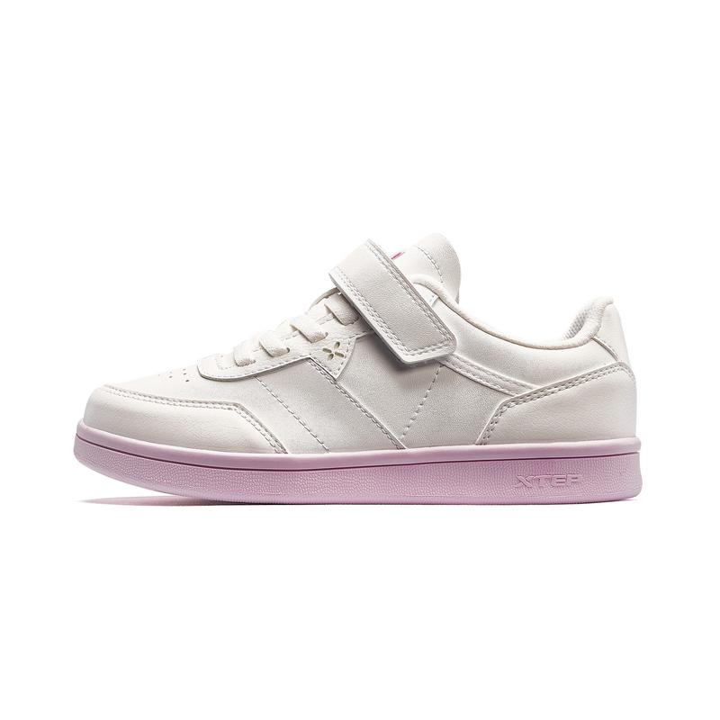 特步 女童板鞋 春新款中大童革面儿童小白鞋680114319550