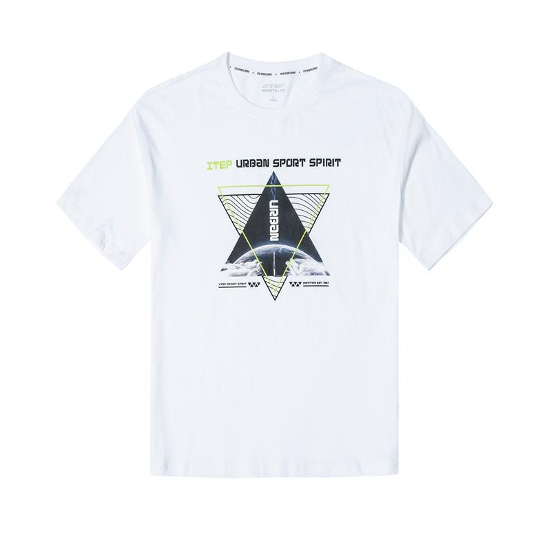 特步 男子短袖 新款时尚百搭都市活力针织衫T恤880229010031