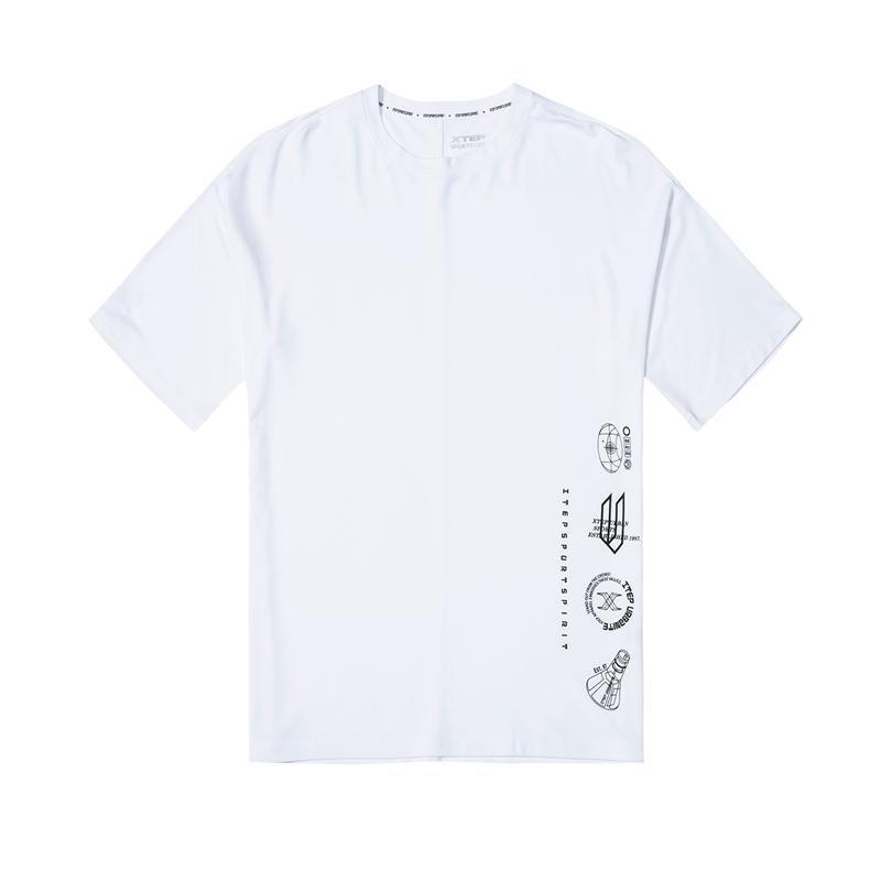 特步 男子短袖针织衫 都市活力百搭透气舒适T恤880229010092