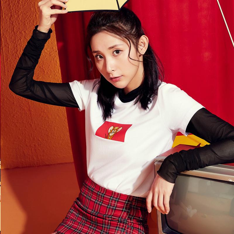 【猫和老鼠联名款】特步 专柜款 女子短袖 20年新款圆领活力T恤980128010532