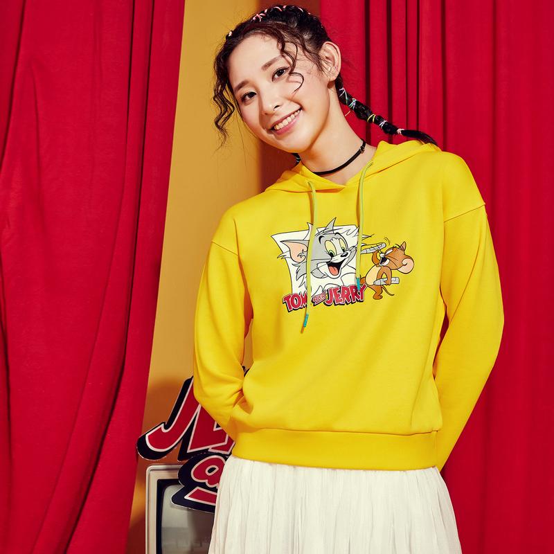 【猫和老鼠联名款】特步 专柜款 女子卫衣 新款连帽活力套头衫980128930469