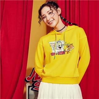【猫和老鼠联名款】特步 专柜款 女子卫衣 20年春新款连帽活力套头衫980128930469