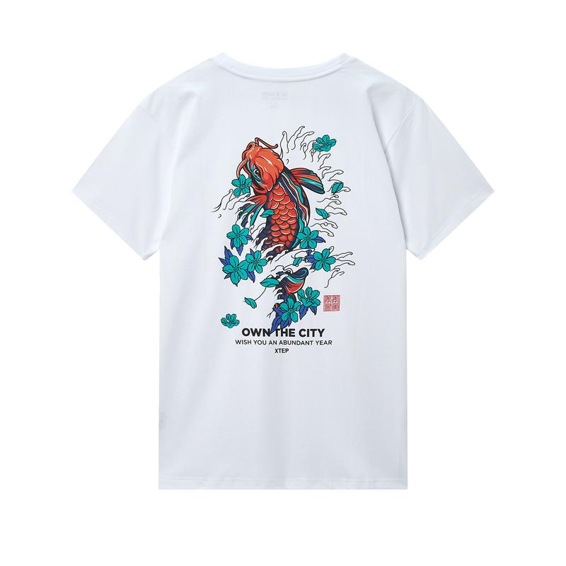 特步 专柜款 男子短袖 20年新款背后印花休闲T恤980129010283