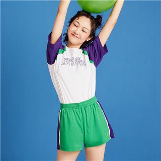 【景甜同款】特步 女子短袖 2020夏季新款撞色宽松内搭T恤短袖上衣圆领半袖体恤880228010118