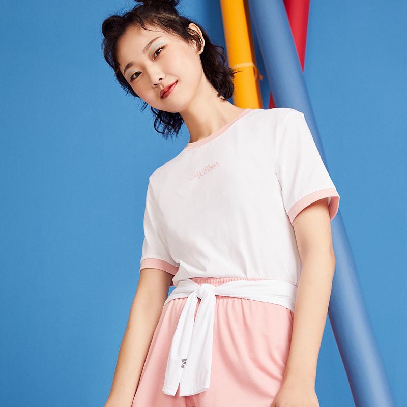 特步 女子短袖 20夏季新款圆领棉上衣运动T恤半袖红色体恤880228010012