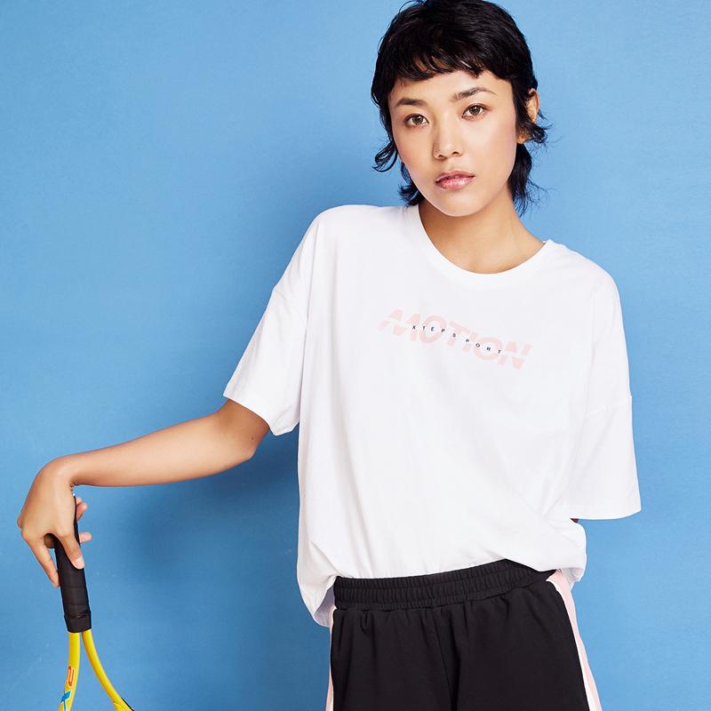 特步 女子短袖 2020夏季新款半袖短袖宽松上衣运动体恤880228010119
