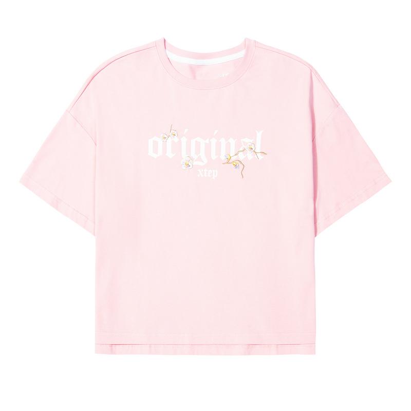 特步 女子短袖 20夏季新款透气圆领宽松上衣棉运动T恤女装半袖潮880128010217